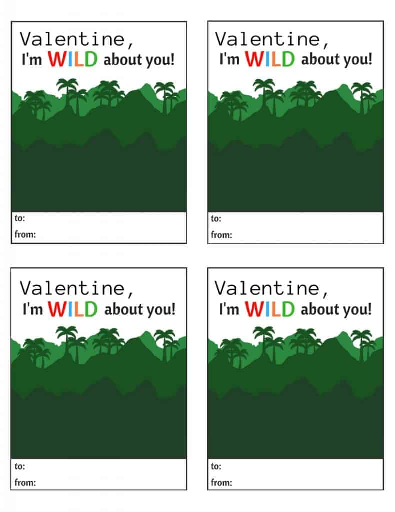 I'm Wild about you Valentine Printable
