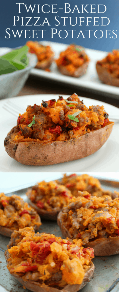 Twice-Baked Pizza Stuffed Sweet Potatoes