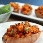 Twice Baked Pizza Stuffed Sweet Potatoes