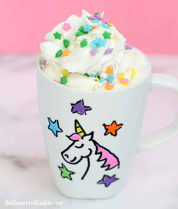 A close up of a coffee cup, with Unicorn and Craft