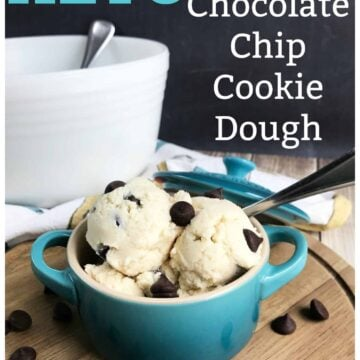 A bowl of food on a table, with Cookie dough