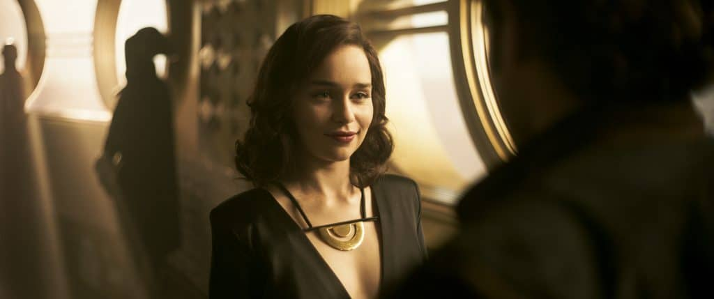 Emilia Clarke looking at the camera