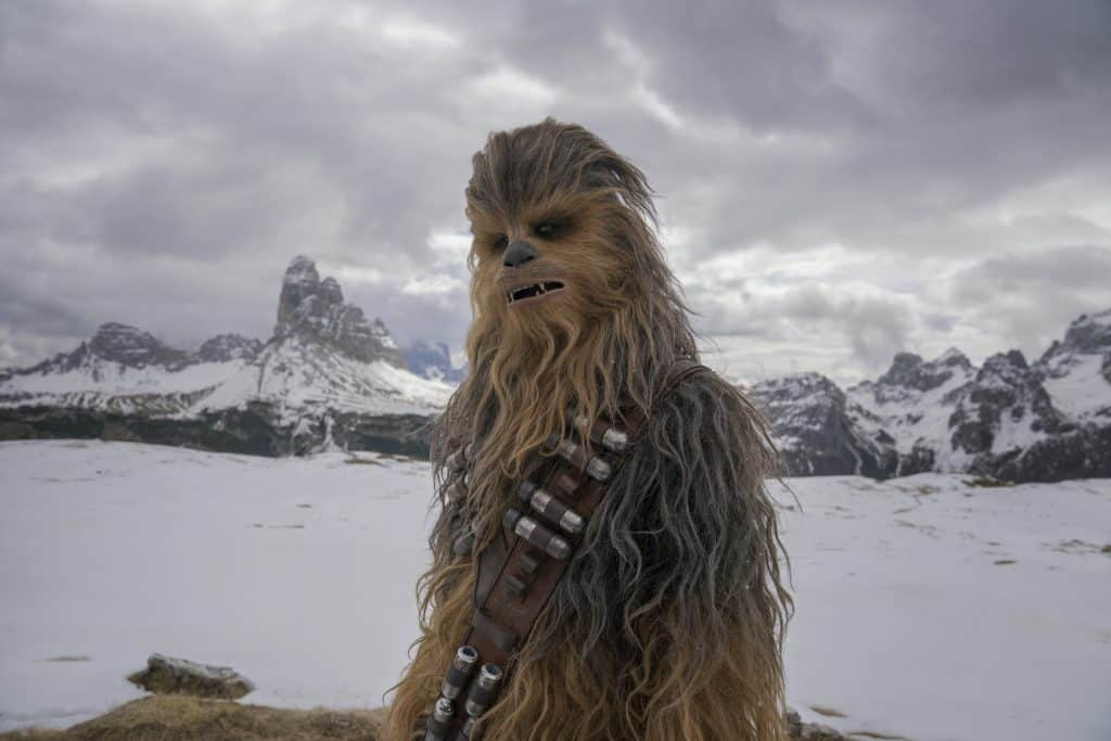 Chewbacca standing by mountain and snow