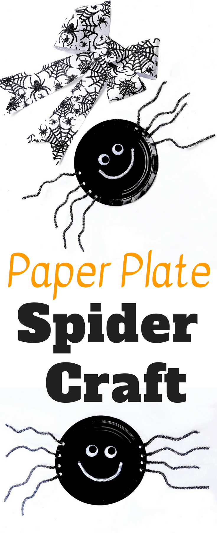 Close up of a spider craft supplies and text