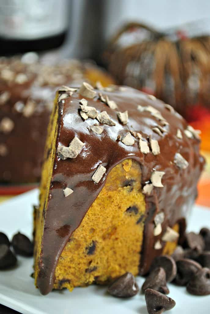 A piece of chocolate cake on a plate, with Pumpkin and Chocolate chip