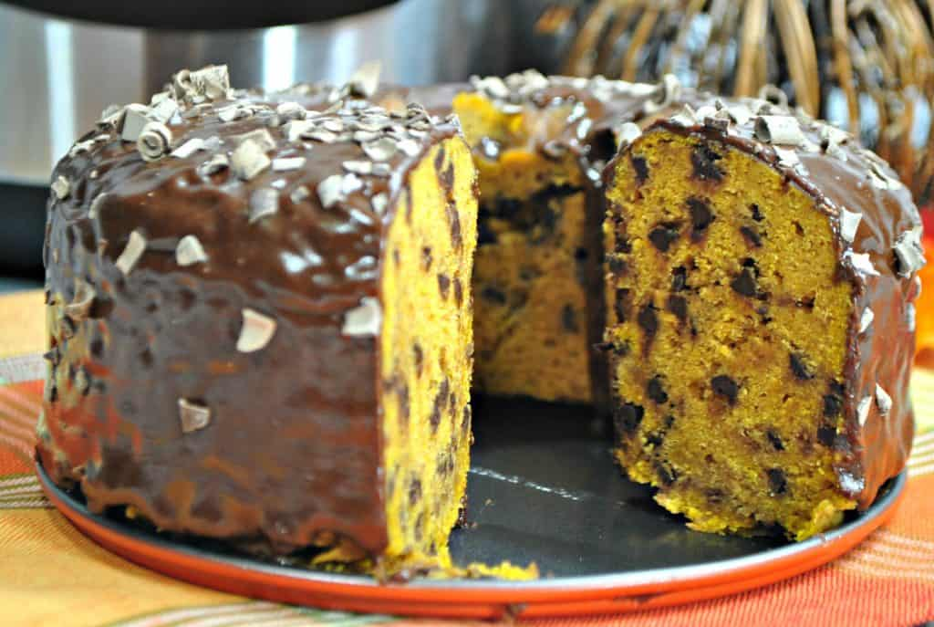 A close up of a piece of chocolate cake on a plate, with Pumpkin and Chocolate chip