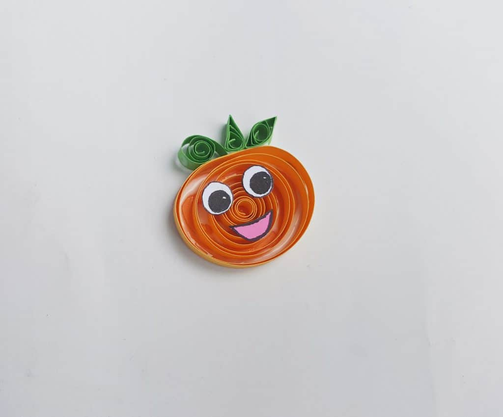 close up of pumpkin quilling