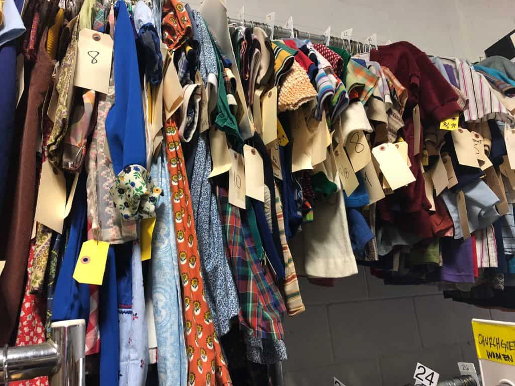 A bunch of clothes hanging