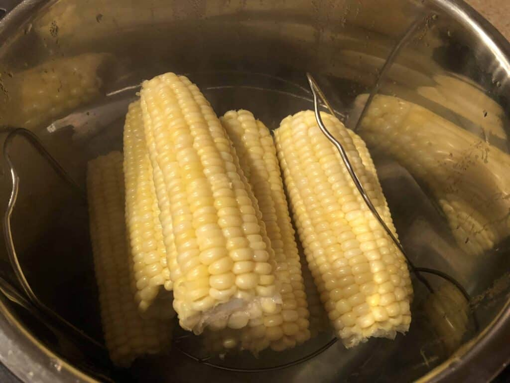 A close up of a metal pan filled with food, with Corn on the cob