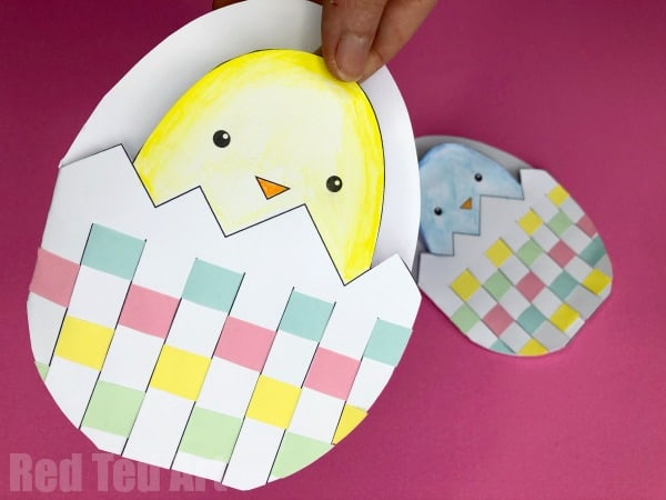 Printable Easter Chick Card with Woven Egg
