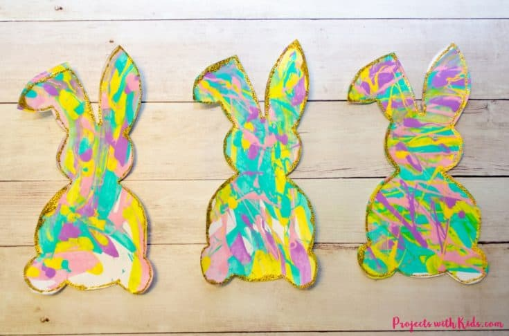 Process Art Scrape Painting with Bunny Silhouettes