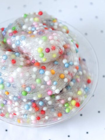 A close up image of colorful slime