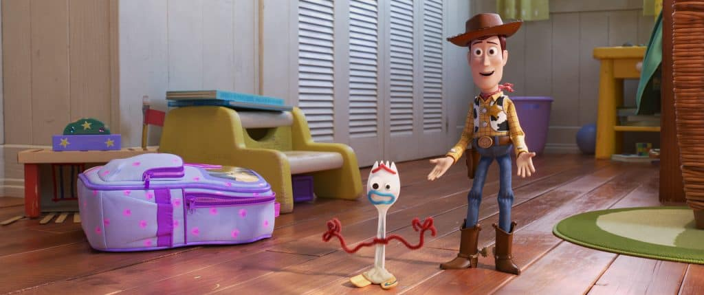 Woody and Forky in Toy Story 4 movie