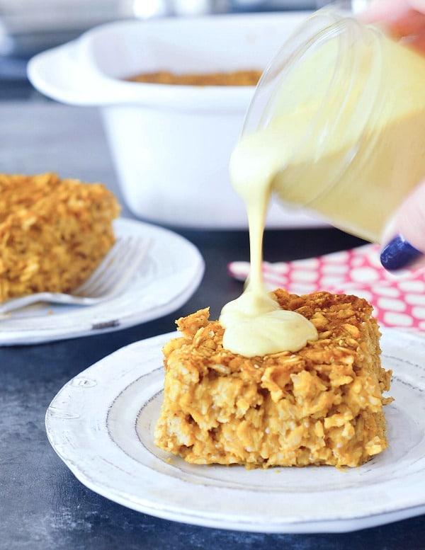 Baked Pumpkin Oatmeal with Golden Cashew Cream