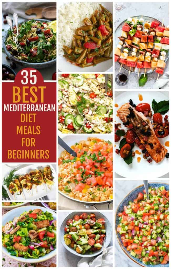 Many different types of food, with Mediterranean diet
