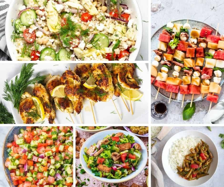 Many different types of food on a table, with Mediterranean diet