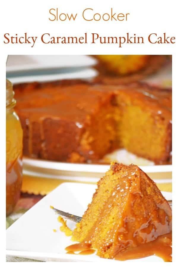 Slow Cooker Sticky Caramel Pumpkin Cake - Crockpot Cake