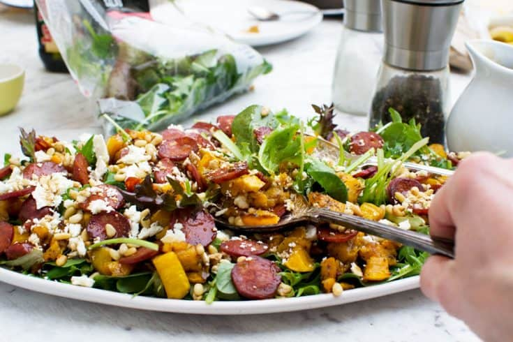 Warm roasted butternut squash, chorizo and feta salad