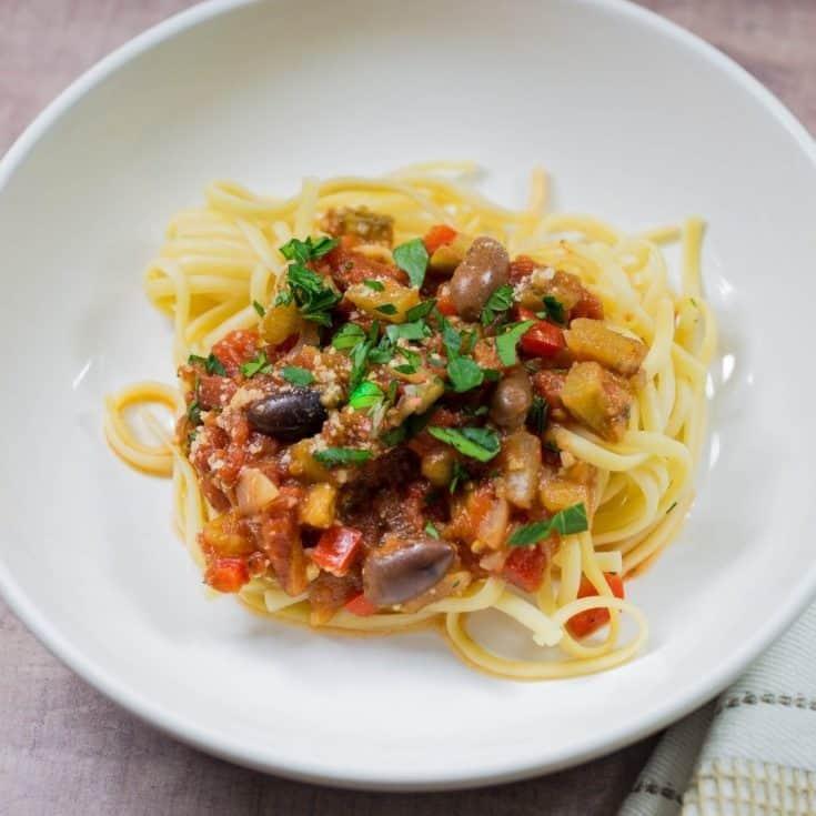 Easy Mediterranean Eggplant Pasta Sauce