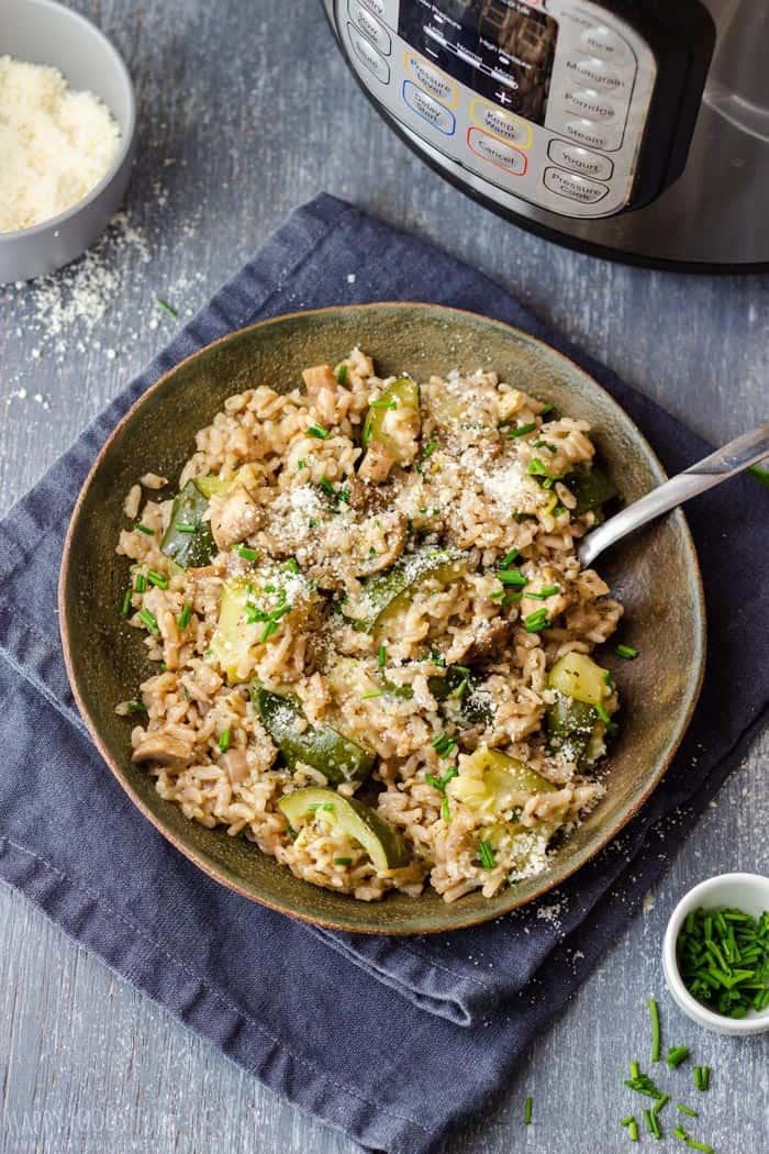 Instant Pot Zucchini Mushroom Risotto Recipe