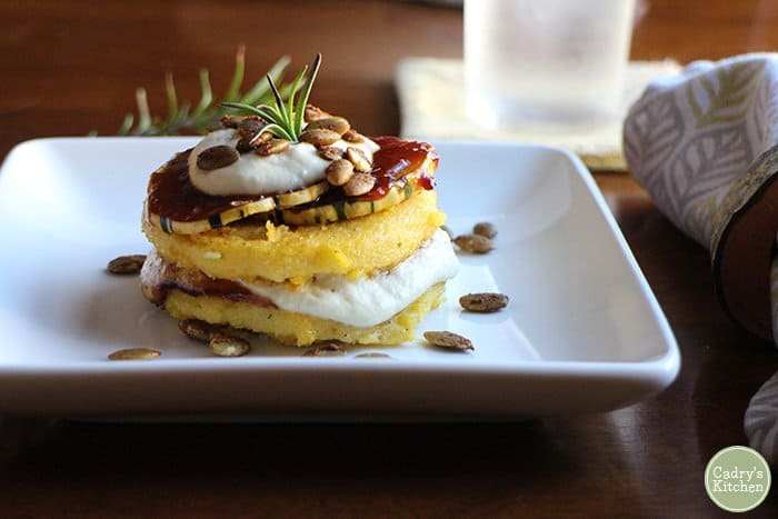 Polenta stacks with BBQ sauce & cashew cream