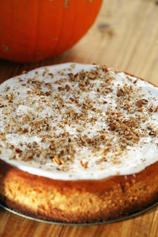 Pumpkin Cheesecake With Ginger Snaps and Pecan Crust