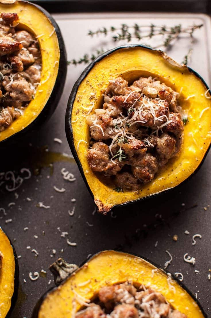 Sausage and Parmesan Stuffed Acorn Squash