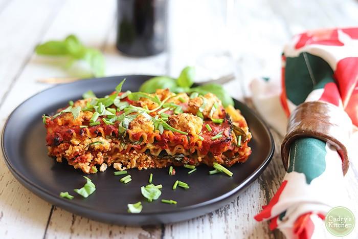 Vegan lasagna for one in the air fryer