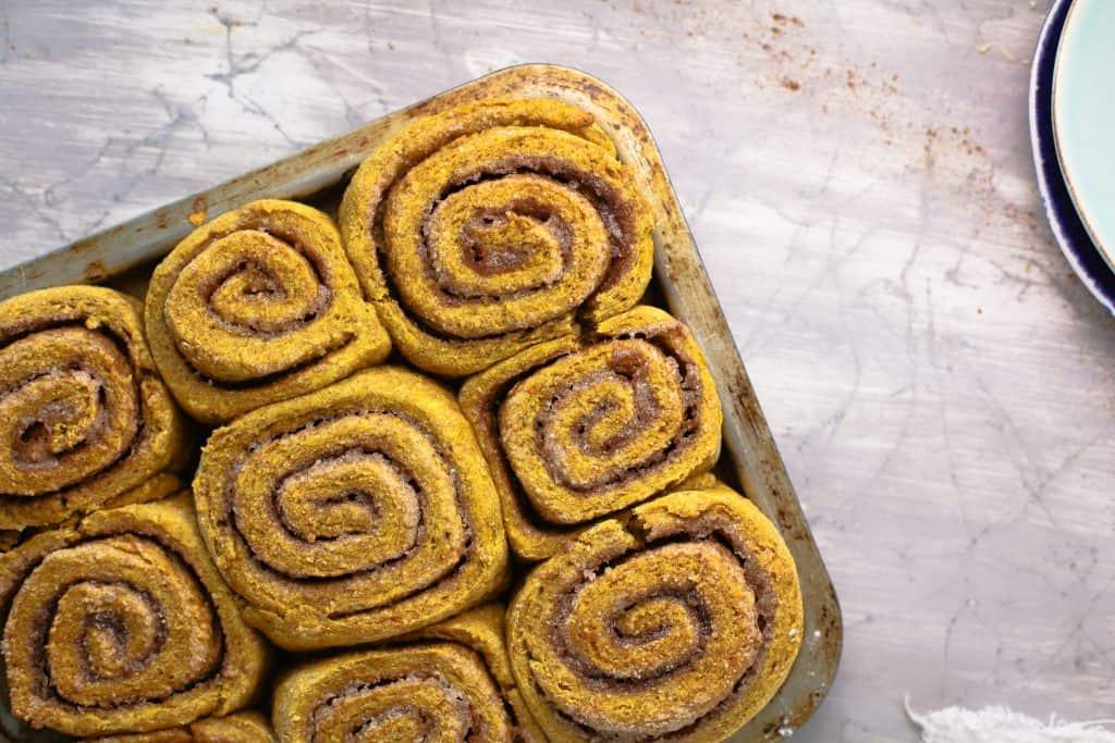 close up of cinnamon rolls on pan