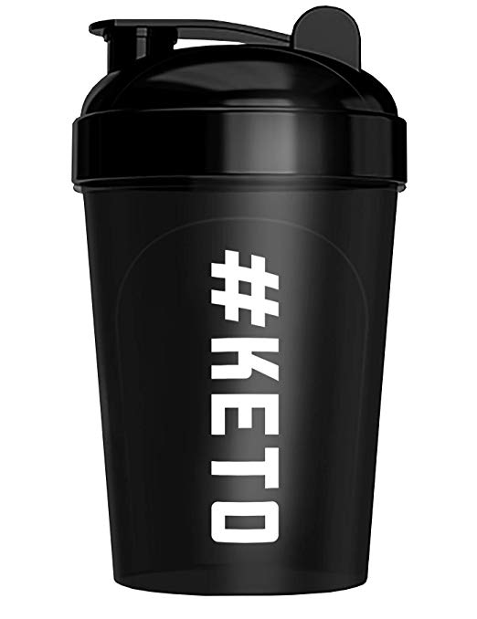 Keto Shaker Bottle, BPA Free, Tight Lid, and Mixing Technology, 16 oz, Black (#Keto Design)