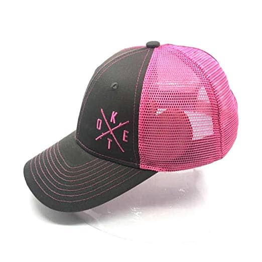 Keto Essentials Stupid Simple Keto Hat Limited Edition Women's High Ponytail Hole For Messy Bun or Pony. Pink on Denim Mesh Trucker Baseball Cap With Snapback, Adjustable for Universal Fit