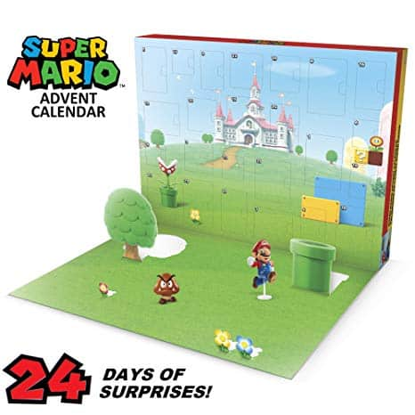 "Nintendo Advent Calendar Super Mario Christmas Holiday Calendar with 17 Articulated 2.5"" Action Figures & 7 Accessories, 24 Day Surprise Countdown with Pop-Up Environment [Amazon Exclusive]"