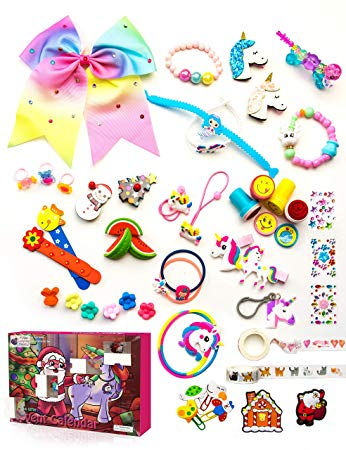 Gifts for Girls 2019 Advent Calendar, with 24 unique gifts including Unicorn Accessories, Hair Clips, Stamps for Kids, Cute Bracelets, a Large Hair Bow & Much More! Great Countdown Calendars for Girls