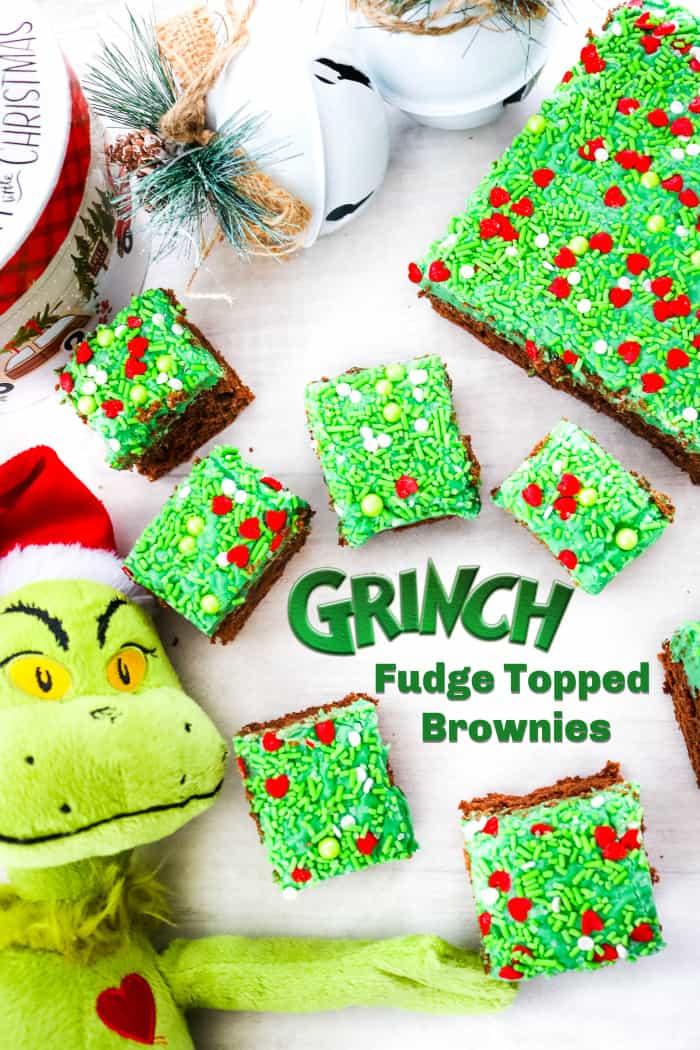 Grinch Fudge Topped Brownies #ChristmasSweetsWeek