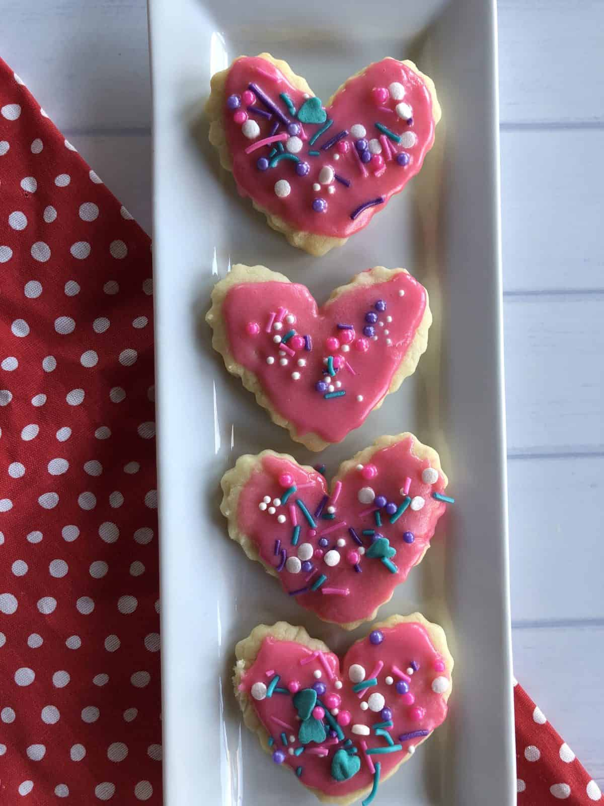 heart cookies on a white plate